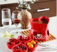 2014 hot  red chocolate fondue fruit plate ice cream pot mandarin duck
