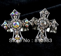 Wholesale Vintage Aulic Imitation Diamond Big Cross Elastic Gothic Style Rings For Women