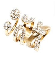 New Arrival Sparkling Imitation Diamond Fashion Gold Rings Jewelry Sets