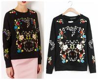2014 Women Fashion embroidery sweatshirts hoodies pullover Brand New 2013 Women Clothing sportswear Black Free Shipping