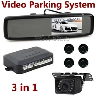 DIY 4.3 Inch Car Mirror Monitor Kit + Video Parking Radar System 4 Sensors + IR Night Vision Rear View Car Camera Free Shipping