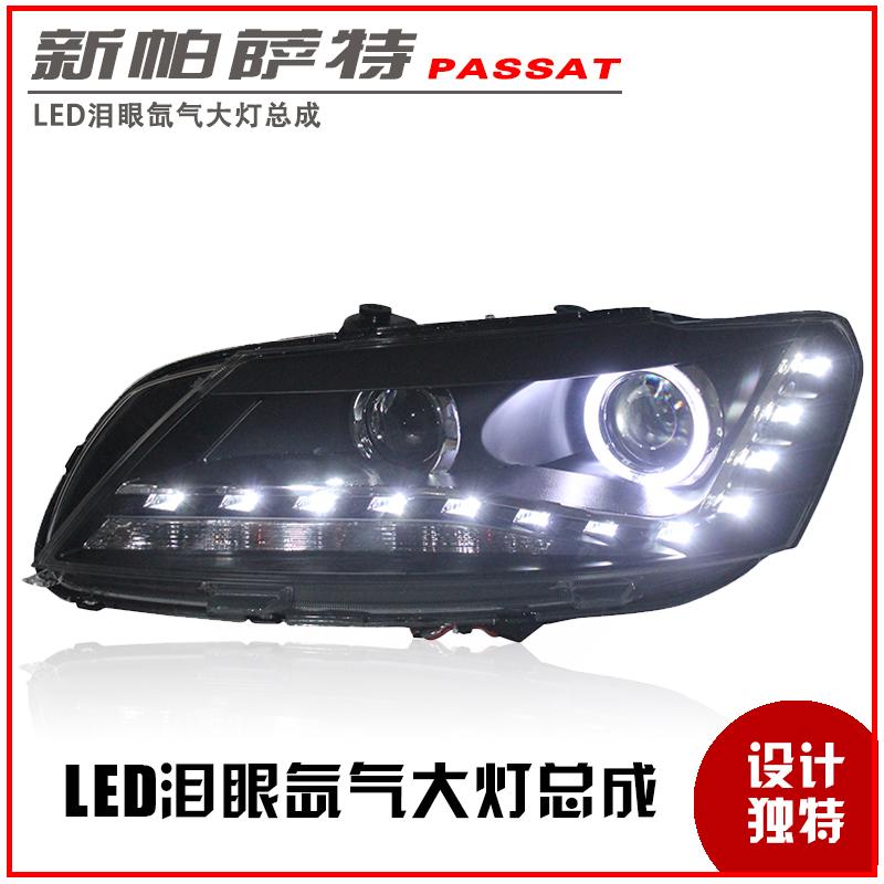 Passat headlights refires led angel eyes dacryops bifocal lens xenon passat headlight assembly(China (Mainland))