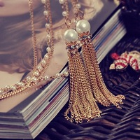 Woman Pearl Necklace Fashion Retro Geometric Hollow Gothic Gem Clavicle chain Women Sweater chain