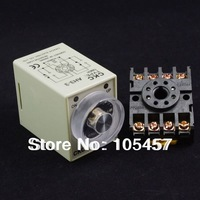 AC110V Power On Delay AH3-3 Timer 0-10s Relay With 8Pins Socket Base PF083A