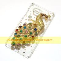 1 Pcs Handmade Bling Diamond Peacock Clear Hard Back Case For HTC Desire 600 Dual SIM 606W