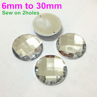 Sparkly Faceted Round Sew on Acrylic Flatback with 2 Holes in Crystal Clear Color 6mm 8mm 10mm 12mm 14mm 16mm 18mm 20mm 30mm