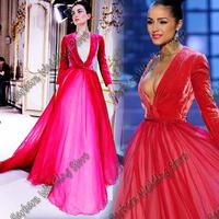 2014 A-Line Deep V-Neck Long Sleeves Velvet Chiffon Celebrity Dresses Miss Universe miss USA Olivia Culpo Special Occasion Wear