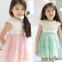 2014 summer girls dress rose flower dresses baby girl party dress Children's princess sleeveless dress