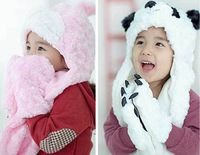 New Retail panda rabbit style baby kids one-piece winter hat scarf set