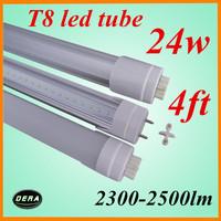 25pcs/lot T8 24W G13 1200mm led light bulb 2300-2500lm 85-265V 4ft led florescent tube lamp factory outlet 25pcs/lot