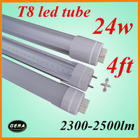 25pcs/lot T8 24W G13 1200mm led light bulb 2300-2500lm 85-265V 4ft led florescent tube lamp factory outlet 25pcs/lot