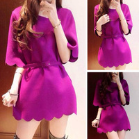 2013 winter beautiful petal dress women's fashion ol elegant wave autumn and winter purple dress with belt