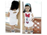 Wholesale New 2014 Summer Fashion t-shirts Girls Clothes Child Minnie Mouse T shirt Long Tops Back Bow Design Children t shirts