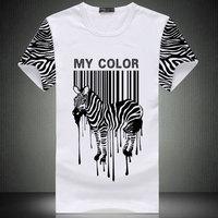 Free Shipping 2 Designs Fashion Zebra Shirt For Men Round Neck Fashion Zebra Printing Shirt Bardian Unisex Shirt