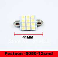 100pcs Free Shipping 42mm 12 LED Super White Festoon Dome SMD5050 Auto Car Bulb Lamp Light