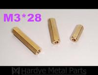 3*28 M3*28 female-female Brass standoffs hex pillar hex spacer M3 PCB 100pcs/lot Free shipping