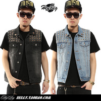 Fashion vintage gold rivet metal armor water wash whisker Men denim vest