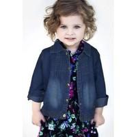 Free shipping girls star Lapel denim jacket clothing wholesale Original Order