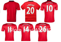 free shipping 2013/14 Manchester Robin van V.Persie mens football kits soccer jerseys kits embroidery customize logo home red