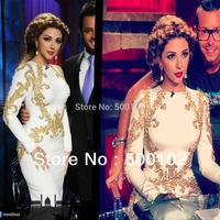Myriam Fares Jewel Neckline Beaded Appliqued Mermaid Design Long Sleeve Vintage Evening Dresses