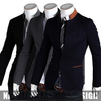 Freeshipping,New 2013 Korean Slim Fit Stand Collar Men's Blazer,Quality Fashion Brand Suits Male,Dropshipping