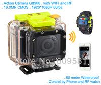 Professional Sport Camera G8900 with WIFI control 16MP sensor 1080P 60fps 60 meters waterproof VS Go pro Hero3 Black Edition