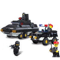 High Quality Children Kids baby Police Armored Car Construction Learning Education Bricks Bricks Building Blocks Sets ABS Toys