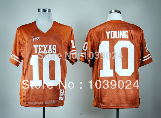 2014 NWT Texas Longhorns #10 Vince Young Jersey Burnt Orange Name No. Patch Stitched Best Quality Colleage Football Jersey(China (Mainland))