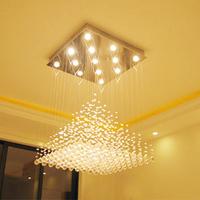 Lamp crystal lamp living room lights hall lamp modern square pyramid crystal pendant light lamps 9020