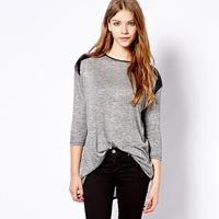 2015 New Fashion Long-Sleeve O-Neck Black PU Patchwork Loose Female Autumn Winter T Shirt Basic Shirt plus size Women Blouse
