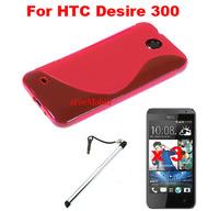 Slim Soft S TPU Skin Case Back Cover Mobile Phone Case +Screen Protector + Stylus Pen For  HTC Desire 300  HTC Zara mini