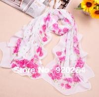 Free shipping wholesale new women's Fashion Scarf  Rose patterned Soft thin silk scarf Chiffon Scarves Shawl FX-014