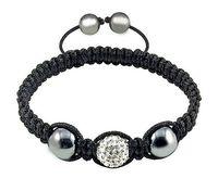 white bead with black brocade fashion shamballa crystal jewel,charming disco ball beads,shamballa bracelet&bangle
