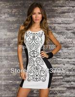 M L Plus Size New Fashion Women Vintage Printed Tank Dresses Patchwork Bodycon Mini Party Dress
