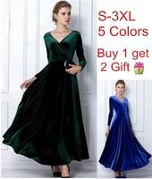 2014 New Velvet Warm Plus size Winter Ankle-Length Dress Women Blue Wine Red Green Black Slim Vintage Maxi Casual Dress Tunics