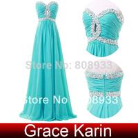 New Free Shipping Grace Karin Chiffon Light Sea Green Strapless Sweetheart Full Length Long Bridesmaid Dress Prom Dresses CL4413