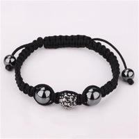 Hematite color shamballa bracelet crystal jewellery fashional disco ball bead jewel for women and man with handmade