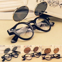 Fashion Retro Vintage 50s Steampunk Glasses Flip Up Round Cyber Sunglasses Goggles 4 Color Free Shipping