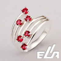 925 Silver Ring Crystals Pave Red Cubic Zircon Stone 0.05ct Nickel Free mix colors