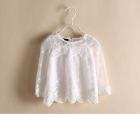CS3190  Girls kids  lace embroidery blouse Kids  shirt  long sleeve blouse dress