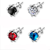 women  925 sterling silver crystal pendant stud earrings Brincos Pendientes Ohrringe Orecchini joyas Schmuck bijoux