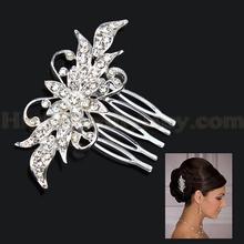 New Bridesmaid Bridal Flower Leaf Hair Comb Pin Wedding Jewelry Rhinestone Crystals