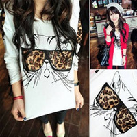 2012 spring and summer leopard print glasses kitten personalized T-shirt