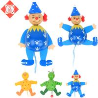Wooden play pull line cartoon clown dolls wooden backguy clown