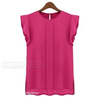 2014 fashion summer short-sleeve o-neck ruffled pleated sleeve chiffon shirt top women's