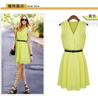 2014 new fashion plus size women summer dress V-neck double pocket sleeveless casual Chiffon one-piece dress free shipping