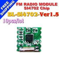 FREE SHIPPING 10PCS/LOT FM receiver module Silicon Si4702 chip TJ-FL102BC-V1.5 Radio module
