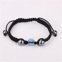 Light blue shamballa jewelry fashion clay crystal jewel charm ball bead handmade shamballa bracelet rhinestone jewel