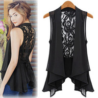 New Arrival Plus Size Chiffon Vest Medium-long Lace Patchwork Shirt Sexy Women Blouses Backless Dress