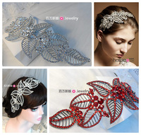 Elegant alloy rhinestone bride leaf hairband white/red two colors marriage accessories hair jewelry
